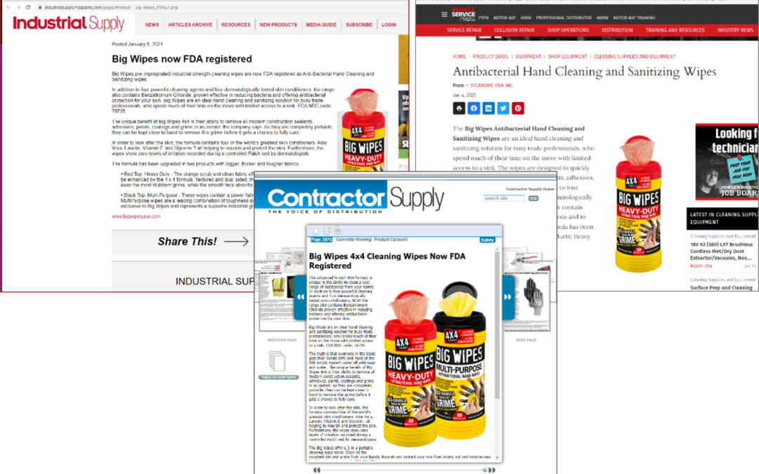 Press Release: Big Wipes Antibacterial Hand Sanitizing Wipes